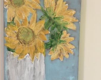 Sunflower in a milkglass vase -summer Acrylic on Canvas Painting
