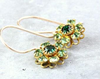 Vintage Swarovski Earrings Gold Filled  Green Crystal Jewelry  Elegant Jewelry Vintage Style Earrings  Women Accessories