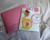 Handmade Easter Card: bike, eggs, multi color, greeting card, cards, friends, complete card, handmade, balsampondsdesign