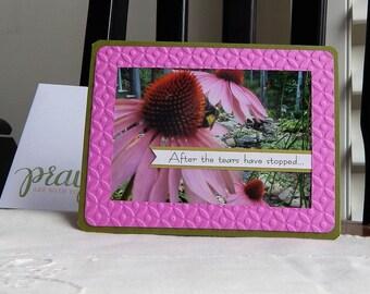 Handmade Sympathy Card: ooak, green, flower, greeting card, card, pink, complete card, handmade, balsampondsdesign