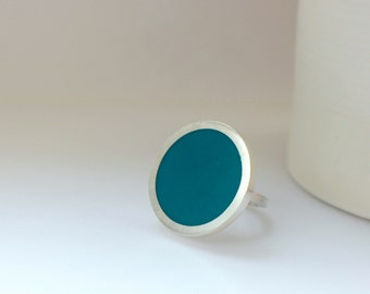 Big Round Cocktail Ring - Teal Ring - Blue Statement  Ring - Blue Jewellery - Pop Art Ring