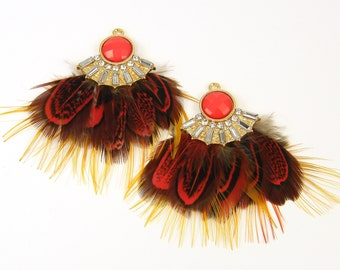 Boho Feather Earring Dangles Brown Red Feather Cluster Ornate Rhinestone Feather Earring Findings Hippie Jewelry Craft Feathers |LG11-4|2