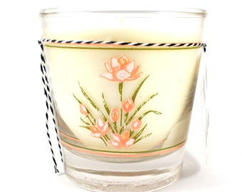 Soy Candle. Wild Rose. Vintage Glass. Housewarming Gifts. Gifts for Women. Unique Candle Scent.