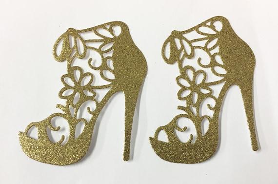 Flower Lace High Heel Gold Metallic Glitter Die Cut Elegant Feminine Embellishment Scrapbook Greeting Card Art Craft Mixed Media Paper Arts