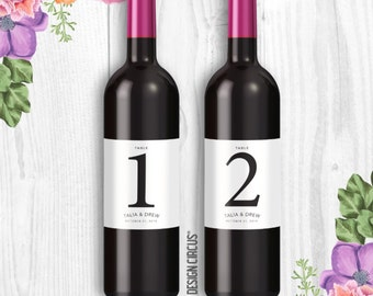 Wedding Wine Bottle Labels - Wine Table Numbers- Modern & Simple Labels - Party Table Numbers