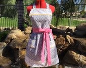 SALE -Ready to Ship - Farm Babes Sassy Apron, Retro Style with Gathered waist and Towel Loop, Full, Kitchen, Housewarming Gift