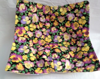 Pansies Print Yellow Purple Lavender Bowl Potholder Cozy Large Microwave Hot Pad Fabric Bowl Stocking Stuffer Great For Hot Or Cold Food
