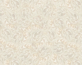 Mademoiselle-Scroll- Ivory Tan-Cotton Fabric-  from SPX -Quilt- Blender- By the yard and half.