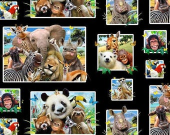 Zoo Selfies Black - Elizabeth's Studio- Zoo Animals- Cotton Fabric - Black- By the yard.