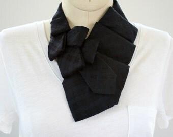 Womens Necktie Scarf - Necktie Necklace - Work Wear - Hipster Clothing - Black Silk Tie. 47