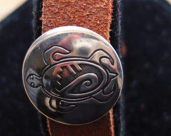 """Silver Turtle Leather Bracelet w/ Button Stud Clasp 7.5"""" MADE IN USA"""