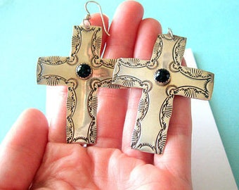 JOAN SLIFKA Large Sterling Silver and Onyx Cross Earrings
