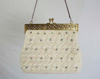 Vintage White Beaded Purse with Rhinestones Gold Frame Handbag Evening Bridal Purse