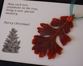Copper Oak Leaf Ornament, Real Lacey Oak Leaf, Extra Large, Ornament Gift, Christmas Card, Happy Holiday Gift, First Christmas, ORNA14