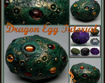 Dragon Egg,  A Polymer Clay PDF Tutorial, Decorated Egg Paperweight, Fantasy Decor, GOT