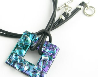 Metallic Iridescent Purple Teal Blue Green Dichroic Fused Glass Pendant Necklace with Sterling Silver Wrapped Leather Cord