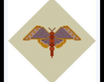 Simple Moth cross stitch pattern PDF