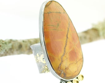 Lichen Fused Cherry Creek Jasper Jumbo 18 Karat Gold Sterling Silver Green Sapphire Statement Ring