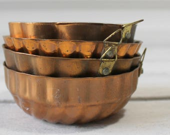 Four Small Vintage Copper Molds, French Baking Molds, Soap Mold, Jello, French Farmhouse Wall Hangings, Kitchen Decor,  Assemblage