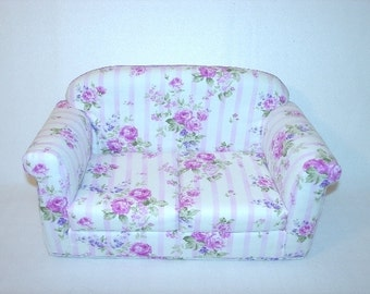 Doll Furniture, 18 inch Doll Couch,  Pink, Country Chic Handmade