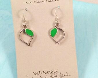 Glow in the dark green silver earrings
