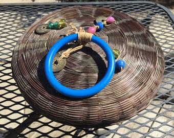 Vintage Round Wicker Sewing Basket Box