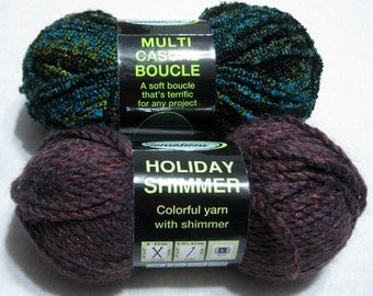 Lot 2 Skeins Sensations Yarn Boucle and Shimmer