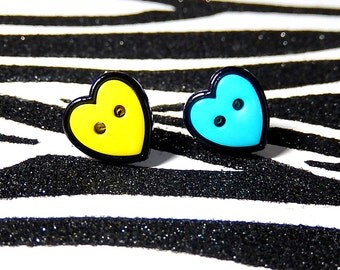 Mismatch Heart Earrings, Blue Yellow Studs, Button Posts