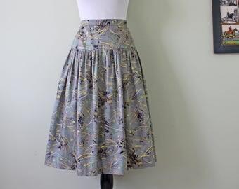 1950s Circle Skirt in Paint Splatter Floral