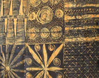 African Fabric, Adire fabric, African Batik, Hand-dyed Fabric, Nigerian Adire, 4.75 Yards, Black and Pale Orange fabric, Yoruba textile