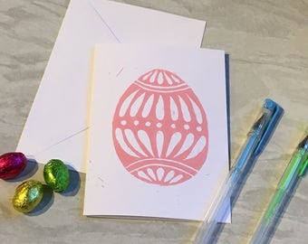 NEW Hand carved lino print Easter egg greetings card