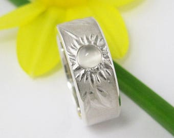 Silver Daisy Band with Moonstone, Wide Wedding Ring, Daisy Do Ring Band