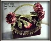 CLEARANCE - Hold for preview by Delores - Garden Party Purse - Velvet with wired ribbon embroidery, bead embroidery & swarovski