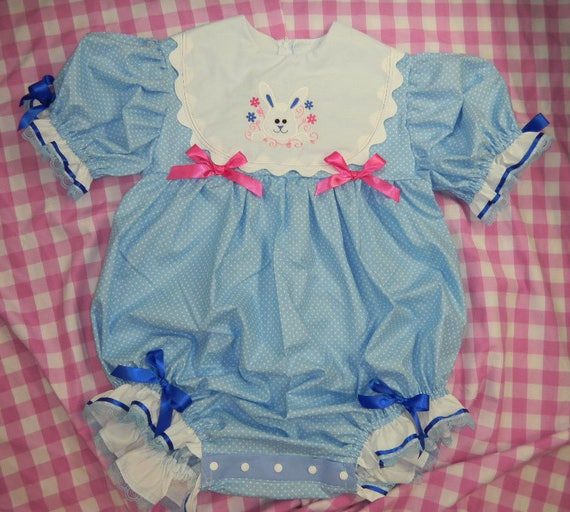 Adult Baby Sissy Littles Boom Boom Bubble Romper Blue Bunny