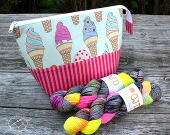 Project Bag Knitting Crochet Supply Bag Ice Cream Cones