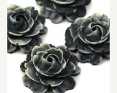 50% OFF SALE Plastic Flower Cabochons Matte Dark Gray and White 23mm (2) PC282