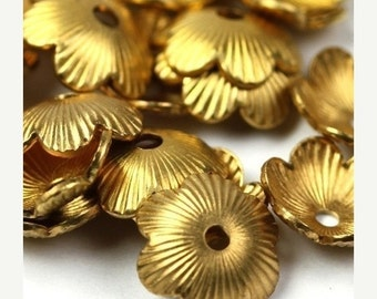 50% OFF SALE Bead Cap Textured Flower Raw Brass 8mm (10) FI209