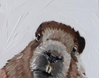 Beaver Portrait, Beaver Art, Beaver Painting, Woodland Art