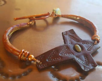 Copper Bracelet - Leather Cross - Hand Tooled - Turquoise - Cowgirl Jewelry - Rustic Jewelry by Heart of a Cowgirl