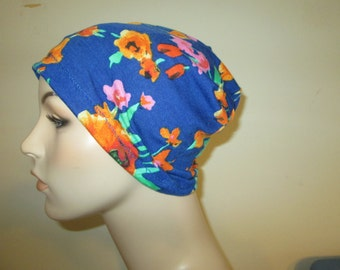 Chemo Hat Lycra  Blue Orange Print Beanie Play Sleep Cap, Cancer Hat, Alopecia
