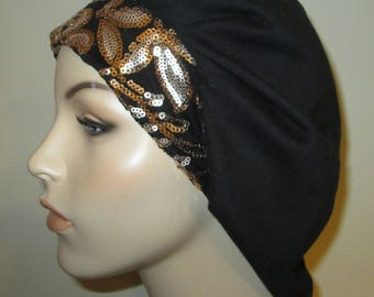 Womens Black  Pleated Snood  Gold Sequin Band Hijab, Hair Loss Jewish Hair Cover