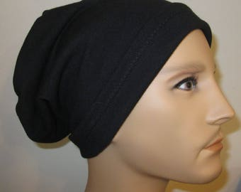 Unisex 2-Way Black Knit Chemo Cap, Cancer Hat, Alopecia Sleep Cap