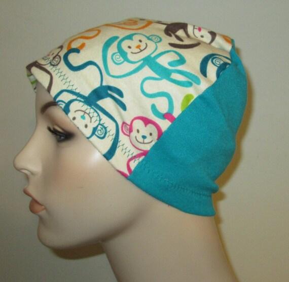 Kids Monkey Business  Flannel Chemo Hat, Kid's  Cancer Cap, Alopecia, Sleep Cap
