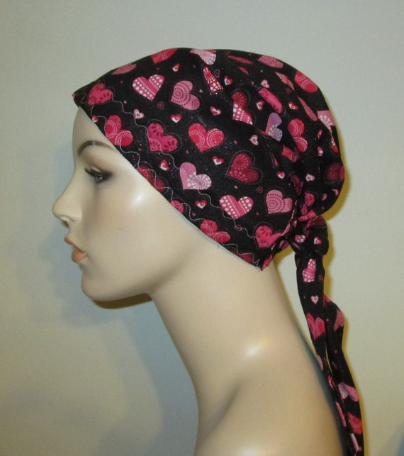 Glitter Hearts Chemo Scarf, Hat, Cancer Hat, Hijab, Alopecia MADE in USA