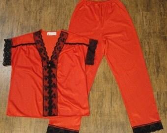 Ho Ho Holiday SALE Vintage Pajama Set, Vandemere bright red nylon cap sleeve with black lace trim, Elasticized waist full length pants, Size