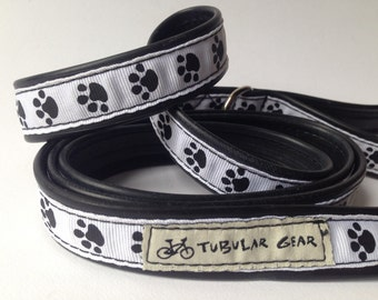 Black and White Paw print leash