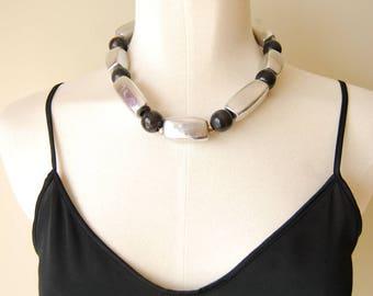 vintage 1970s / brutalist / silver / chocker necklace / black / wood / brass / chunky necklace
