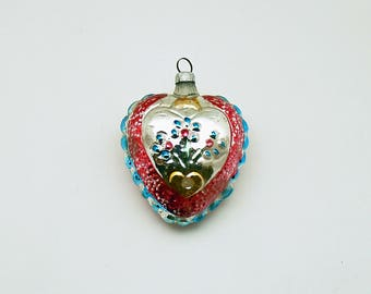 Vintage Christmas Ornament Glass Heart West Germany