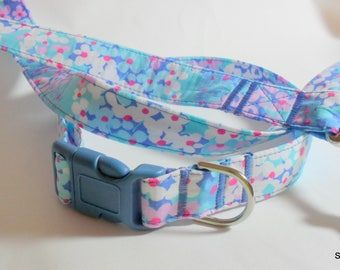 Handcrafted Lilly Pulitzer Dot Dot Hop Fabric Dog Collar & Leash Set *SALE PRICED*