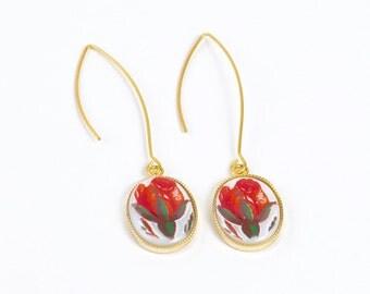 Vintage Rose Bud Flower Earrings, Vintage Earrings, Flower Earrings, Floral Jewelry